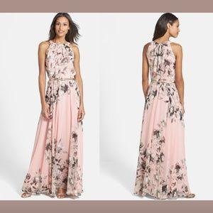NEW $158 Eliza J Belted Chiffon Halter Maxi Dress